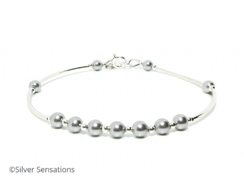 Light Grey Swarovski Pearls & Sterling Silver Wedding Bracelet